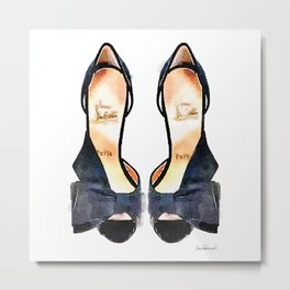 Black Bow Shoes - Watercolor Metal Print