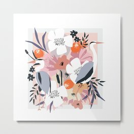 In amongst the fowers boho Heron floral garden print Metal Print