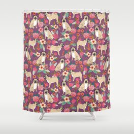 Pug dog breed floral must have cute pugs pure breed pet gifts Shower Curtain