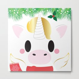 Holiday Unicorn Block - Limited Edition Metal Print