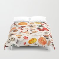 mushrooms Duvet Covers featuring Mushrooms by juli puli