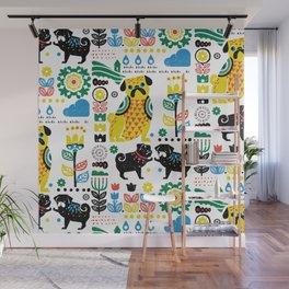 Scandinavian Pugs Wall Mural