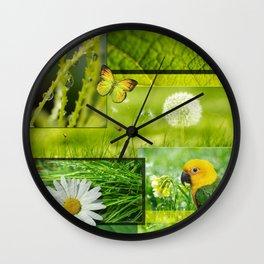 Lush Nature & Greenery Collage Wall Clock