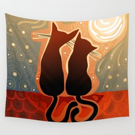 couple of cats in love on a house roof Wall Tapestry