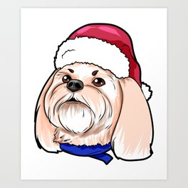 Shih Tzu Dog Christmas Hat Present Art Print