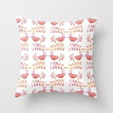 Orange floral pattern with bird Throw Pillow