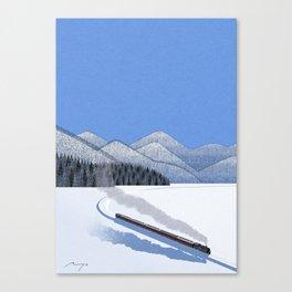 Steam locomotive in the snow Canvas Print