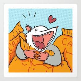 Possums Love Cat Food Art Print