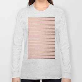Abstract Drawn Stripes Gold Coral Light Pink Long Sleeve T-shirt