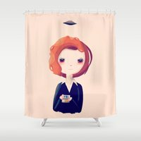 scully Shower Curtains featuring Dana by Nan Lawson