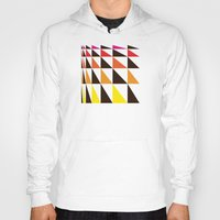 yellow pattern Hoodies featuring Red Yellow Triangle Pattern by Gary Andrew Clarke