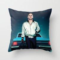 ryan gosling Throw Pillows featuring 'Drive' Ryan Gosling by Studio Caro △