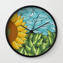 SUNNY DAY (abstract flowers) Wall Clock