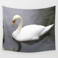 swan Wall Tapestries featuring Swan by IvanaW