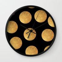 polkadot Wall Clocks featuring GOLD POLKADOT 1 by wlydesign