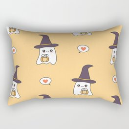 cute cartoon ghosts with pumpkins pattern background Rectangular Pillow