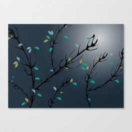 Nightingale singing in the night sky under the moonlight Canvas Print