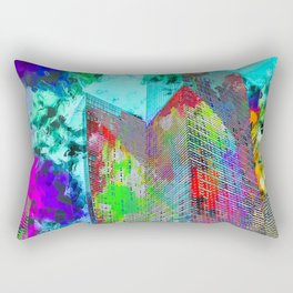 modern building at Las Vegas, USA with colorful painting abstract background Rectangular Pillow
