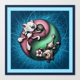 """""""Like cats and dogs"""" - Yin Yang Canvas Print"""