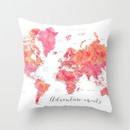 "Adventure Awaits watercolor world map in hot pink and orange, ""Tatiana"" Throw Pillow"