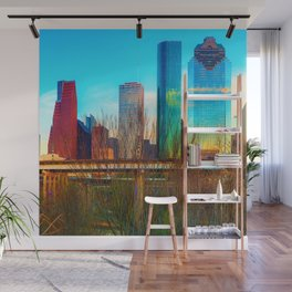 City Skyline Downtown Houston in Color 1x1 Wall Mural