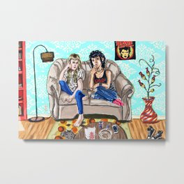 Couch Cats Metal Print