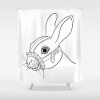 bdsm Shower Curtains featuring BDSM Rabbit by Rimma Ro-F