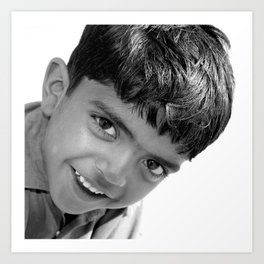 Boy in the Thar Desert (B&W) Art Print