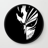 bleach Wall Clocks featuring Bleach- Ichigo Kurosaki Hollow Mask by Ren Flexx