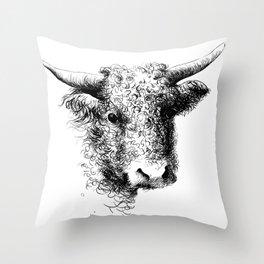 Hand drawn bull, cow, bison, bufalo head portrait   Throw Pillow