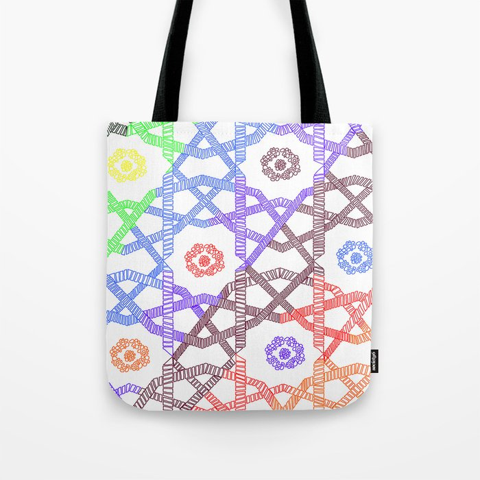 Abstract Geometric Rainbow Squares Tote Bag