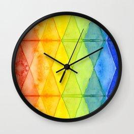 Geometric Abstract Rainbow Watercolor Pattern Wall Clock