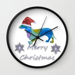 Santa Dachshund Wall Clock