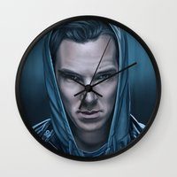 benedict cumberbatch Wall Clocks featuring Blue Steel - Benedict Cumberbatch by tillieke