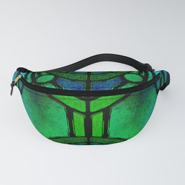 Green and Aqua Art Nouveau Stained Glass Art Fanny Pack