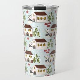 Festive Winter Snowman Village Seamless Christmas Xmas Travel Mug