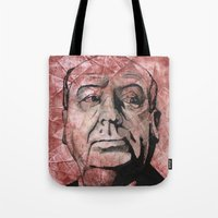 hitchcock Tote Bags featuring Hitchcock by Colunga-Art