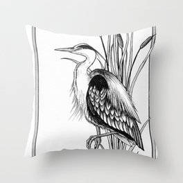 Great Blue Heron & cattail ink illustration Throw Pillow
