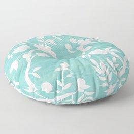 Chinoiserie Panels 3-4 White Scene on Teal Raw Silk - Casart Scenoiserie Collection Floor Pillow