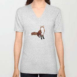 Fox Art, Watercolor Art, Animal Art, Woodland Animal Unisex V-Neck