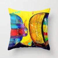 daft punk Throw Pillows featuring Daft Punk by Archan Nair