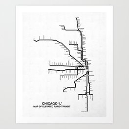 Chicago CTA Map, Chicago Map Art, CTA Art, Chicago Wall Art, Chicago Art, L Train, Art Print Art Print