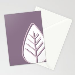 Pink leaves on purple background Stationery Cards