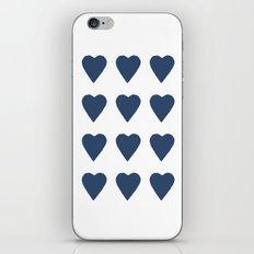 16 Hearts Navy iPhone Skin