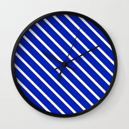 Sapphire Diagonal Stripes Wall Clock