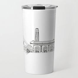 Kansas City Skyline Illustration Black Line Art Travel Mug