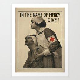 Vintage poster - Give Blood Art Print