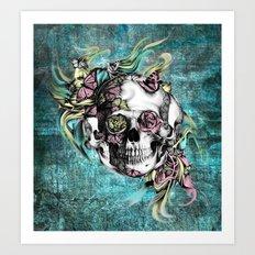 Butterfly smoke skull in color. Art Print