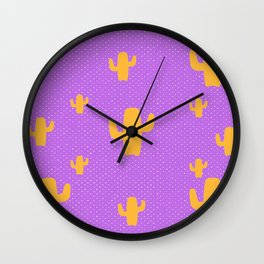 Mustard Cactus White Poka Dots in Purple Background Pattern Wall Clock