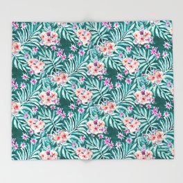 FRONDS ON FLEEK Tropical Palm Floral Throw Blanket